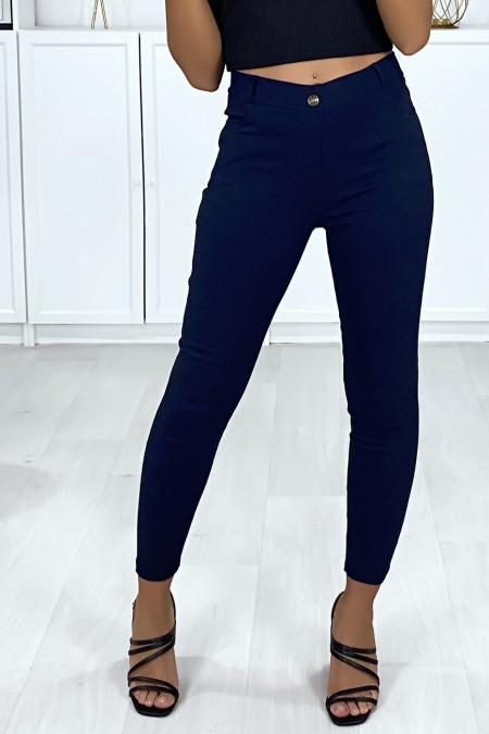 Navy slim fit broek in stretch met 4 zakken