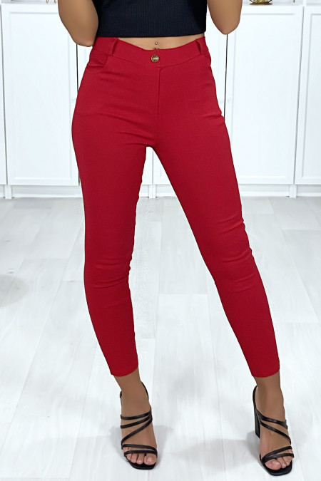 Red stretch slim pants with 4 pockets