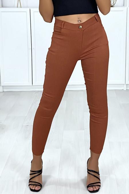 Pantalon slim camel en strech avec 4 poches
