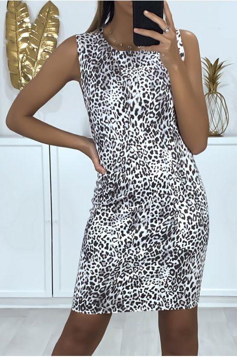 Grijze jurk met luipaardprint en sluiting aan de achterkant