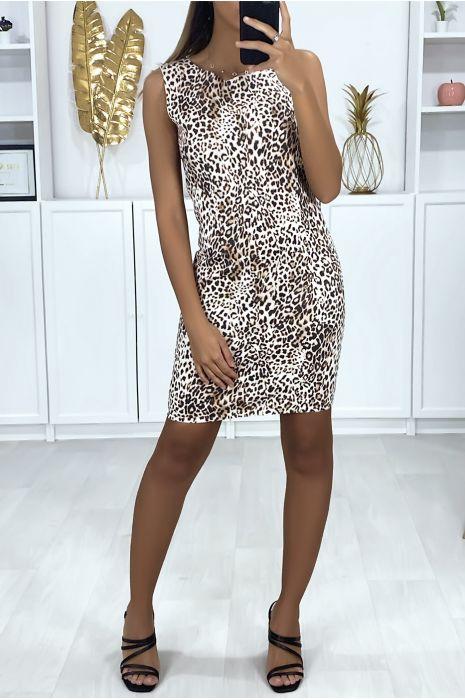 Taupe jurk met luipaardprint en sluiting op de rug