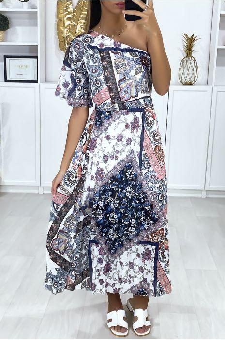 Lange jurk met gekruist patroon bij de buste met één mouw en geplooid onderaan