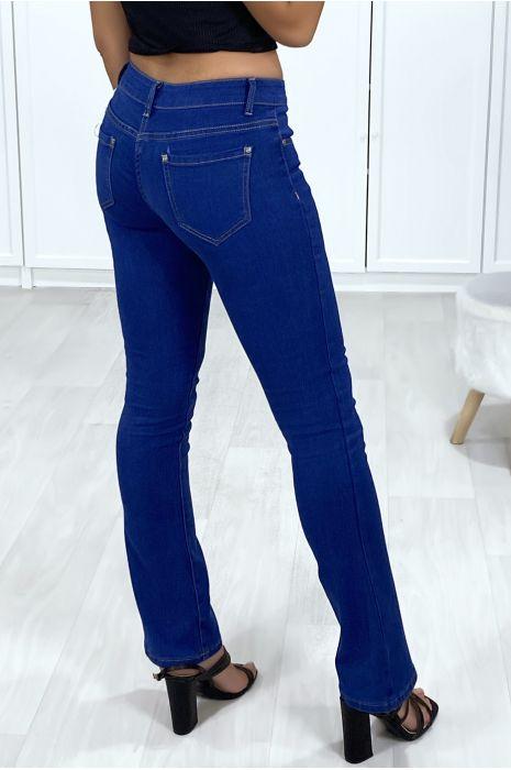 Jeans bleu brute patte d'eph avec 5 poches