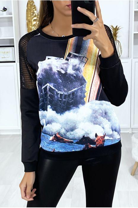 Zwart sweatshirt met transparante schouders en motief op de voorzijde