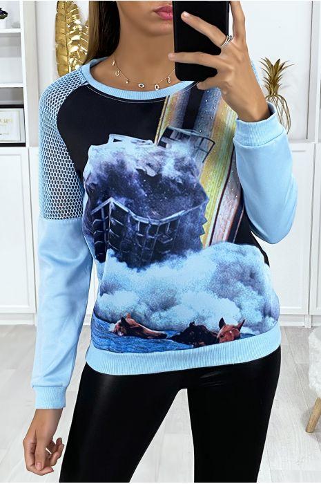 Transparant blauw sweatshirt op de schouders met patroon op de voorzijde