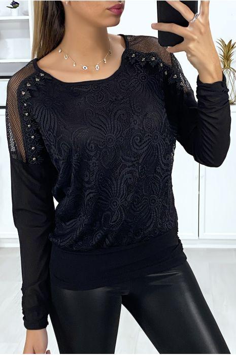 Blouse noir avec épaules transparent et dentelle à l'avant