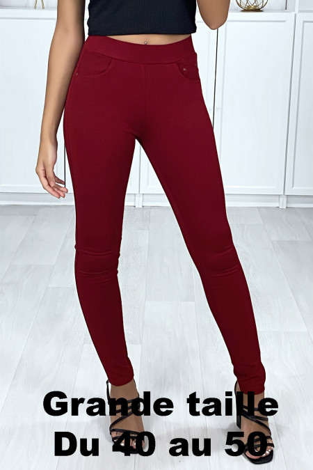 Burgundy slim pants in large size with 5 pockets