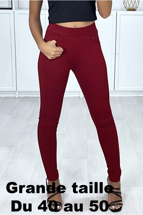 Pantalon slim bordeaux en grande taille avec 5 poches