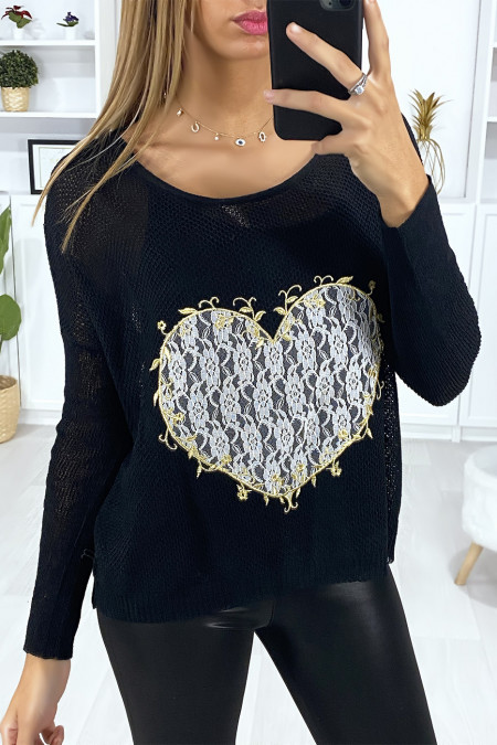 Black sweater with heart motif in lace and embroidery