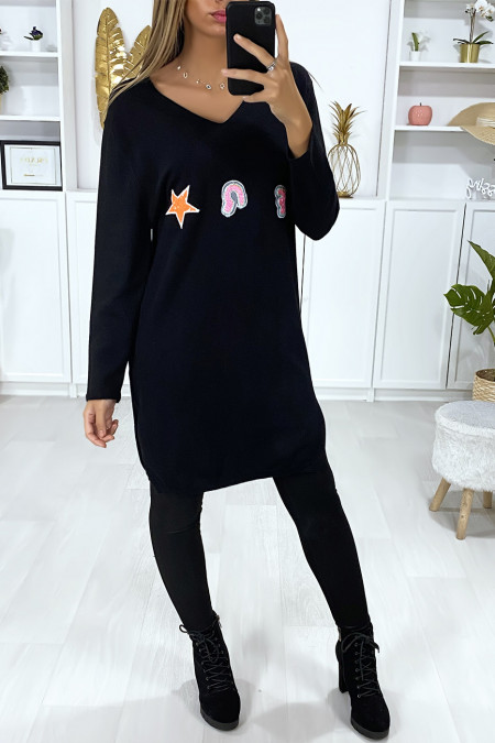 Black V-neck sweater dress in a very soft material with embroidered pattern