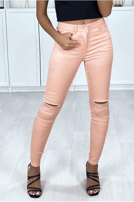 Roze slimfit jeans met 5 gescheurde zakken op de knieën
