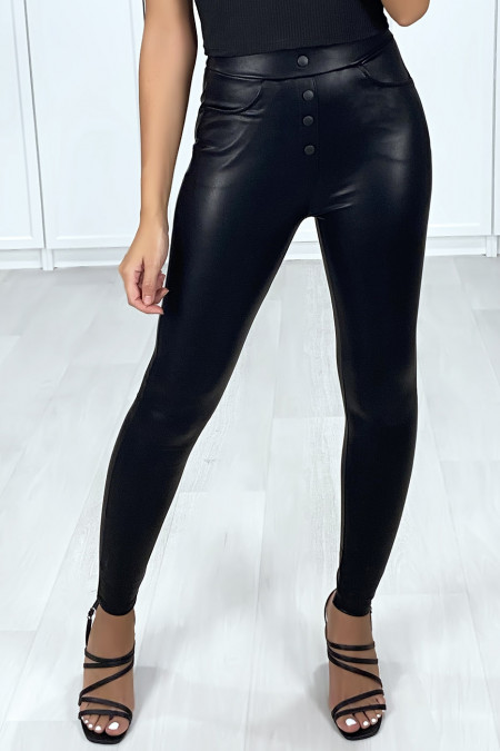 Black faux button-front leggings
