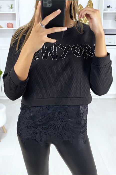 Zwart sweatshirt met NEW YORK-tekst in strass steentjes en kant