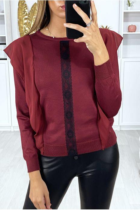 Bordeaux sweater met volant en zwart kant aan de voorzijde