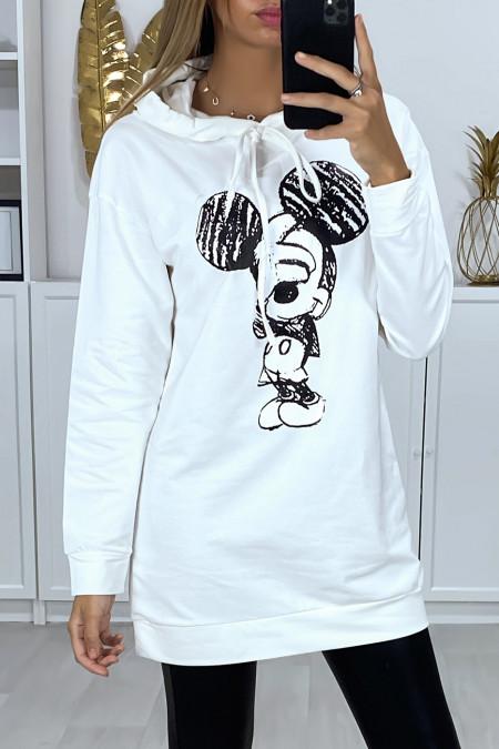 Lange witte hoodie met design op de voorkant