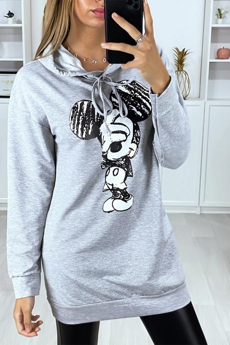 Lange grijze hoodie met print op de voorkant