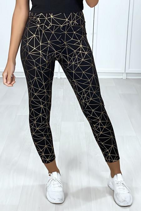 Zeer modieuze legging in zwart en goudpatroon