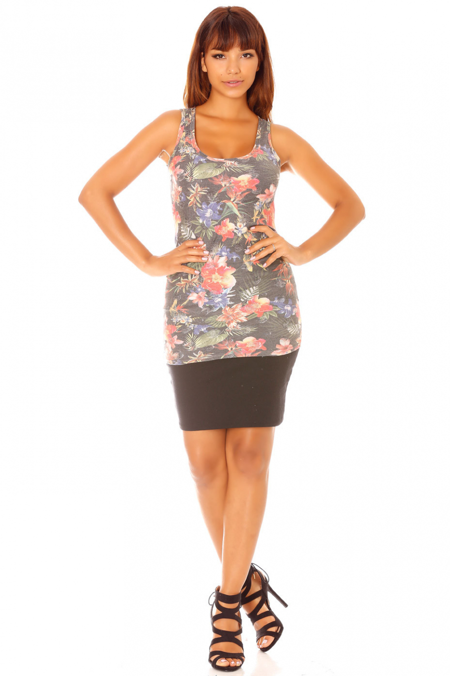 Black long tank top with flower pattern and rips