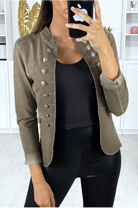 veste costume femme avec bouton argenter