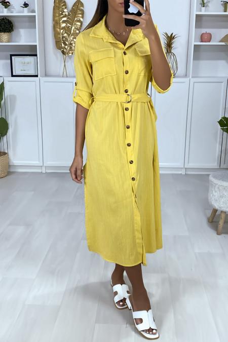 Longue robe chemise moutarde boutonnés avec ceinture