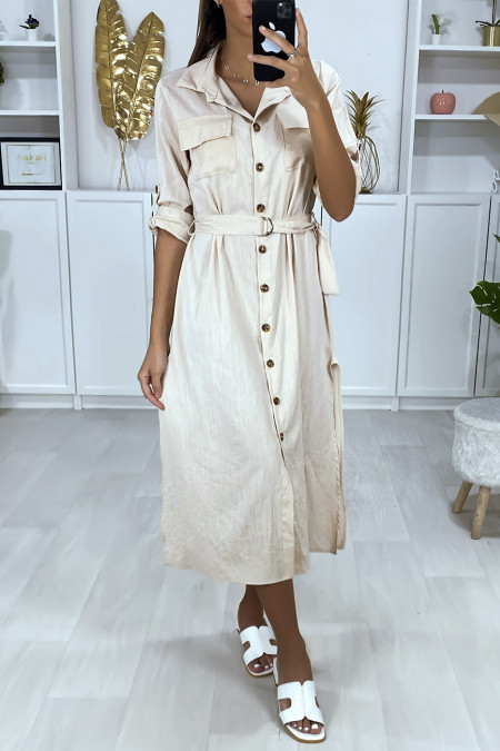 Long beige buttoned shirt dress with belt