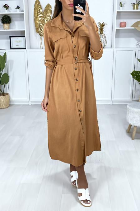 Long camel buttoned shirt dress with belt