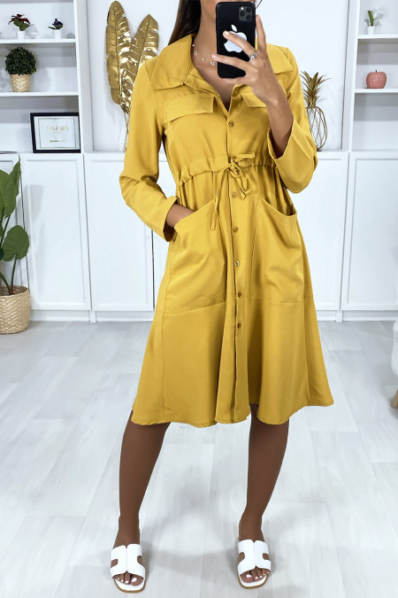 Buttoned shirt dress in mustard with pockets and adjustable waist