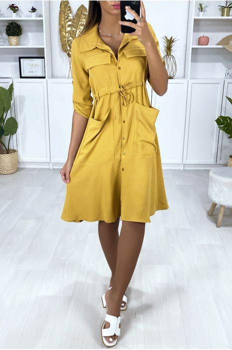 Buttoned shirt dress with pockets and adjustable waist