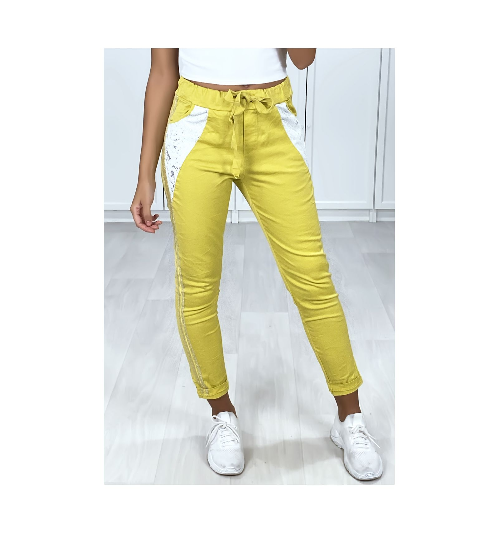 Mustard Cotton Pants For Women With Glitter Stripe And Sequins On The Pockets