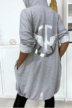 Gray cardigan with hood and pockets in brushed cotton with WHAT writing on the back