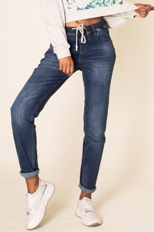 Jegging bleu jeans avec cordon à la taille et retroussé en bas