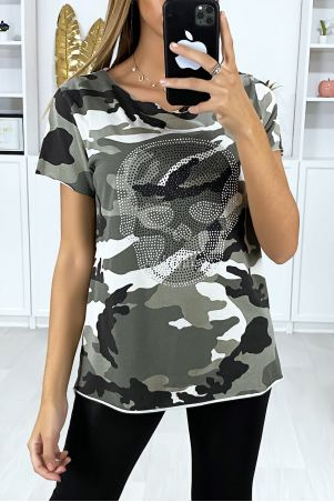 Khaki and beige military t-shirt with rhinestones on the front