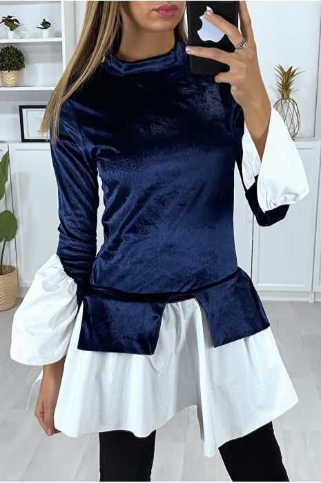 2-in-1 navy velvet top with ruffles on the sleeves and bottom