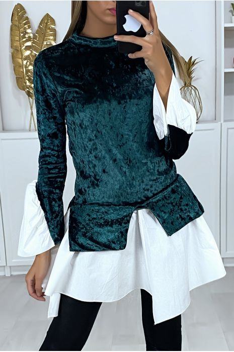 2 in 1 top in green velvet with ruffles on the sleeves and bottom