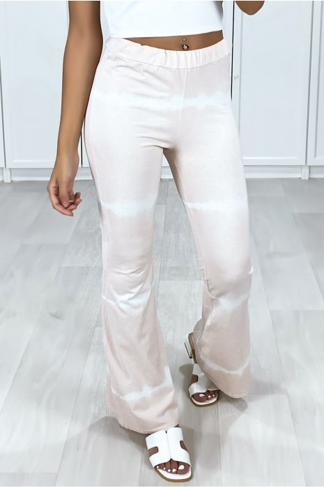 Pantalon patte d'eph rose motif tie & die