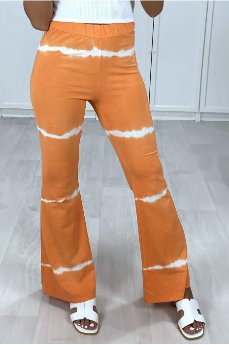 Pantalon patte d'eph orange motif tie & die