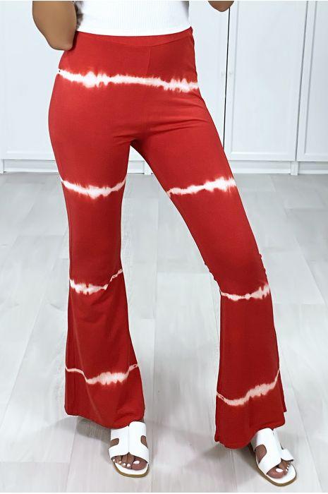 Pantalon patte d'eph rouge motif tie & dye