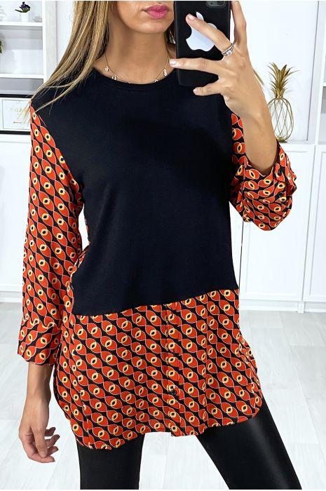 Zwart en rood tuniek overhemdkraag met mooi patroon