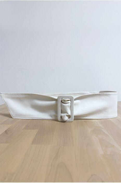 Ceinture blanche avec boucle rectangle