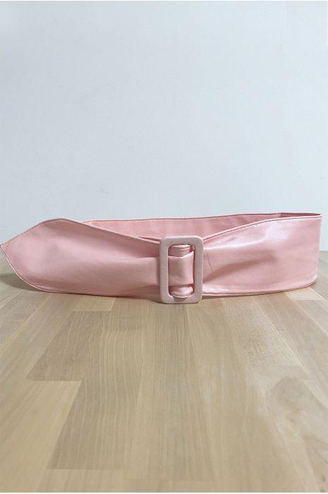 Ceinture rose avec boucle rectangle
