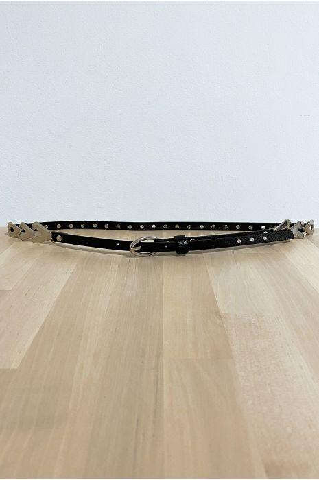Fine ceinture noir avec accessoire et strass