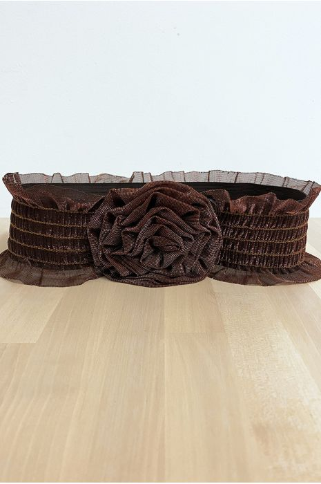 Avondriem van glanzend choco kant met elastiek