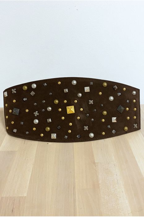 Grosse ceinture de taille en suédine choco avec élastique au dos