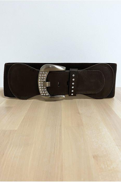 Grote bruine riem met strass steentjes en elastiek in de taille