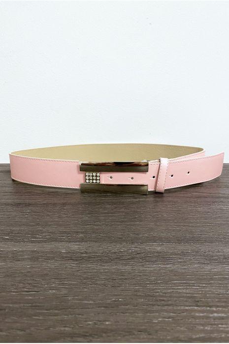 Ceinture rose avec boucle rectangulaire et strass