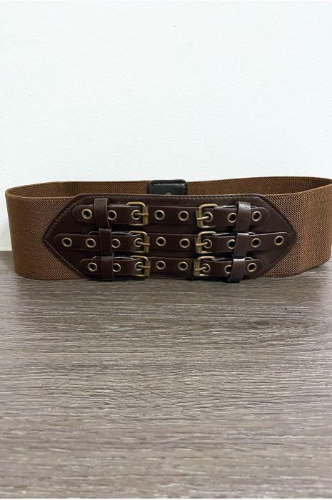 Bruine riem met 3 ringen en elastiek in de taille