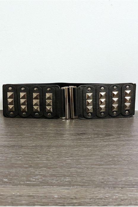 Zwarte studsceintuur aan de voorzijde en elastische tailleband