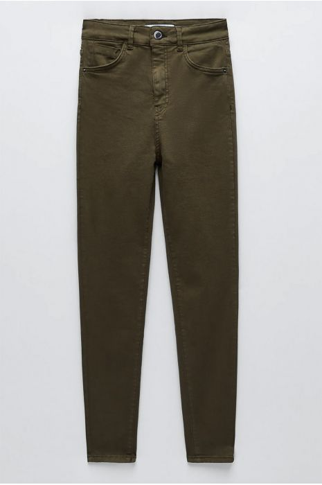 Kaki slimfit jeansbroek met achterzakken