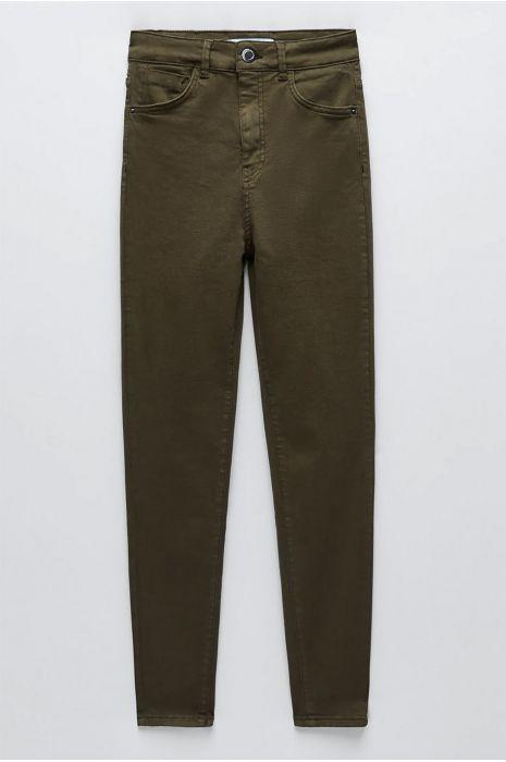 Pantalon jeans slim kaki avec poches arrières