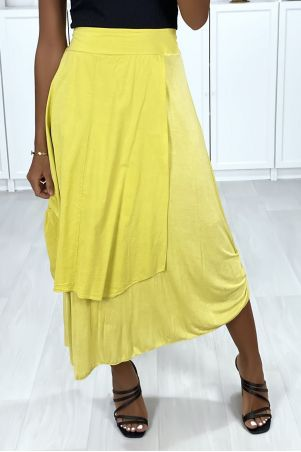 2 in 1 skirt in mustard with gathers on the side